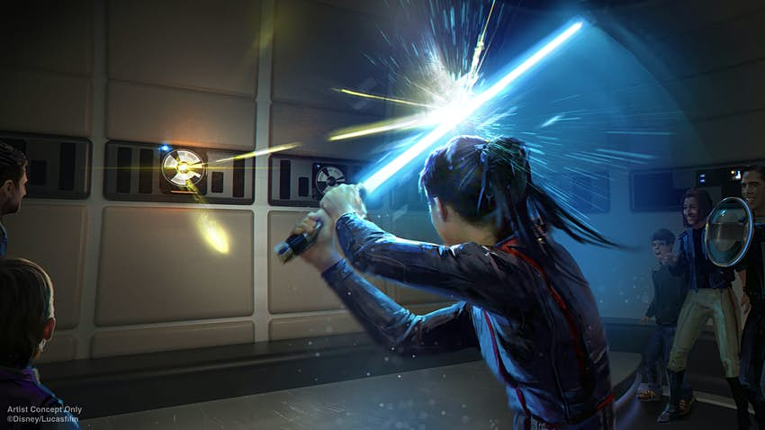 Rendering of a young girl playing with a lightsaber