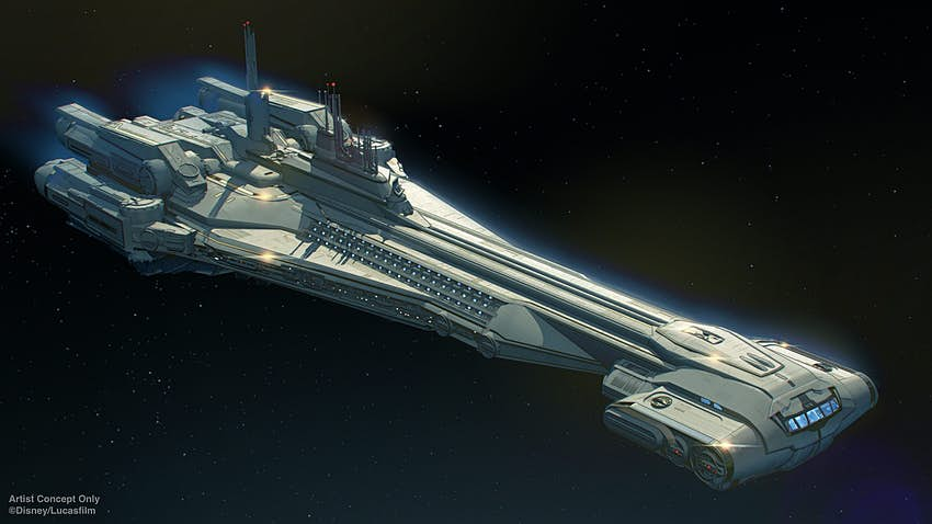 A rendering of a Star Wars cruise liner in space