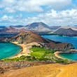 Aerial view of the mountains and the sea at the Galapagos Islands