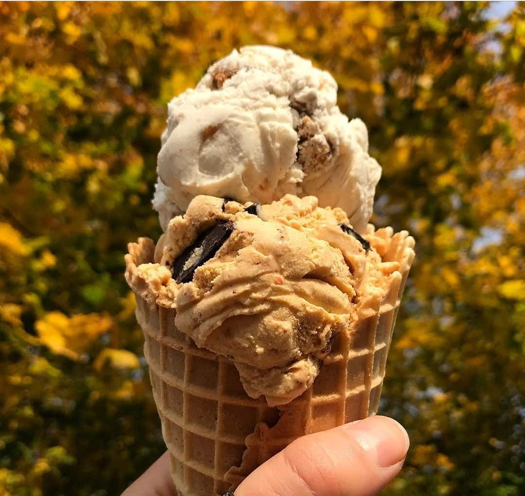 A waffle cone filled with two scoops of ice cream is held up against a backdrop of autumn leaves.