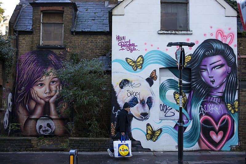 A man carrying a Lidl shopping bag walks past a dilapidated-looking house with its walls covered in street art, including pandas, yellow butterflies, and a woman with purple skin and flowing turquoise hair.