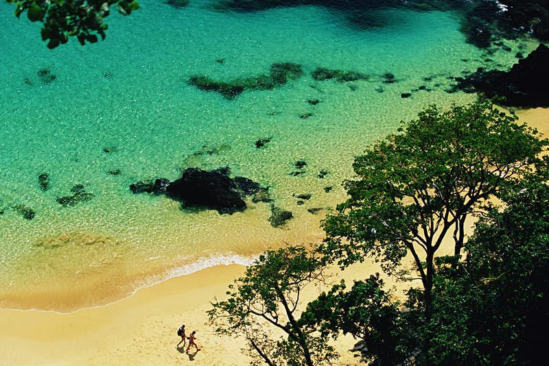 View looking down onto a beach, which is partially obscured by lush green trees. Two people can be seen walking together along the golden sands, as crystal clear, turquoise  waters lap the shore.