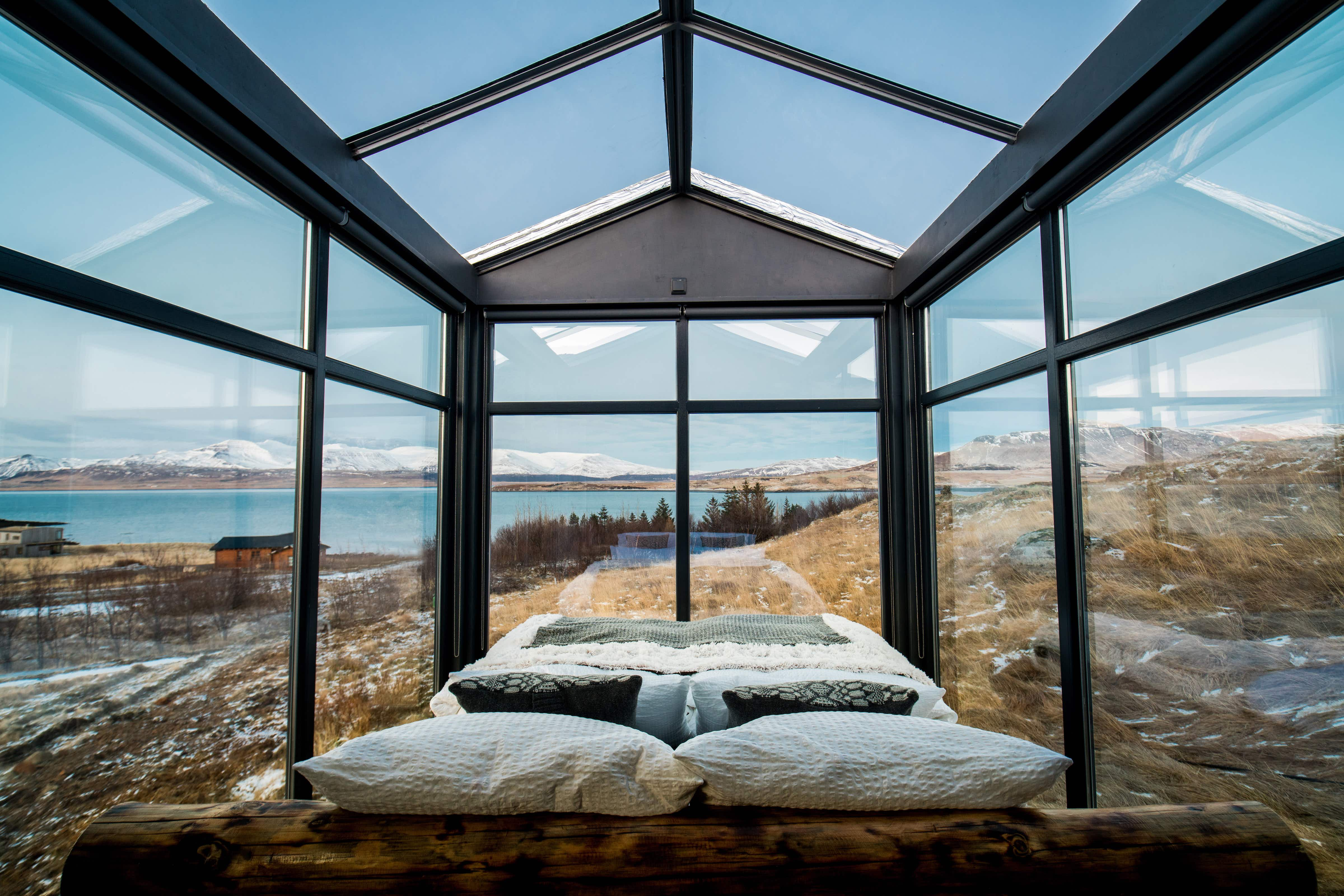 There are few better ways to soak up Iceland's midnight sun than in a glass cabin @ Panorama Glass Lodge