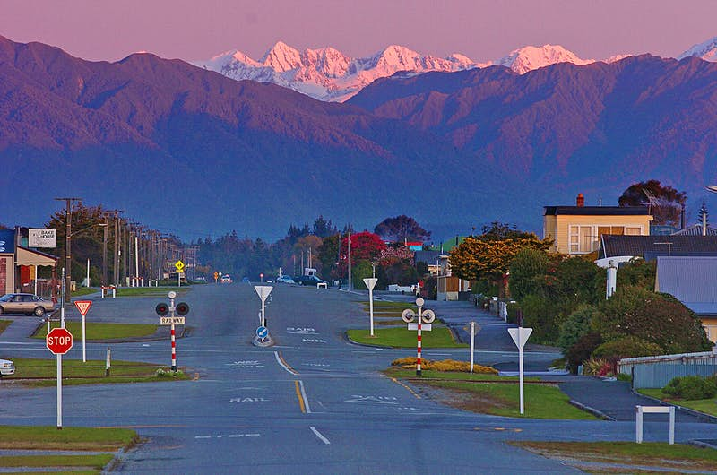 The South Island town of Hikitika at dusk