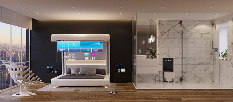 This is what the hotel room of the future will look like by 2034