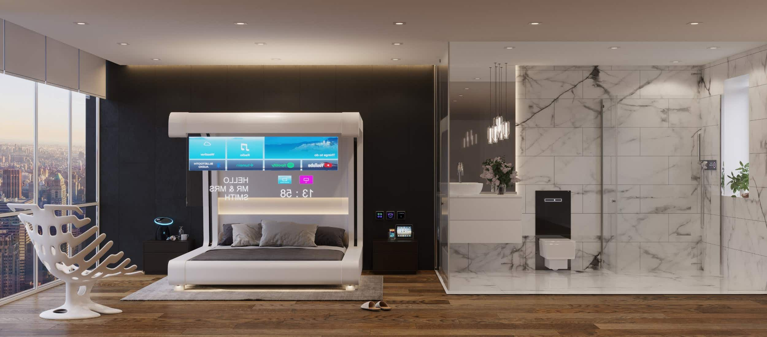 An interactive guest room shows the hotel room of the future. Image: Guestline