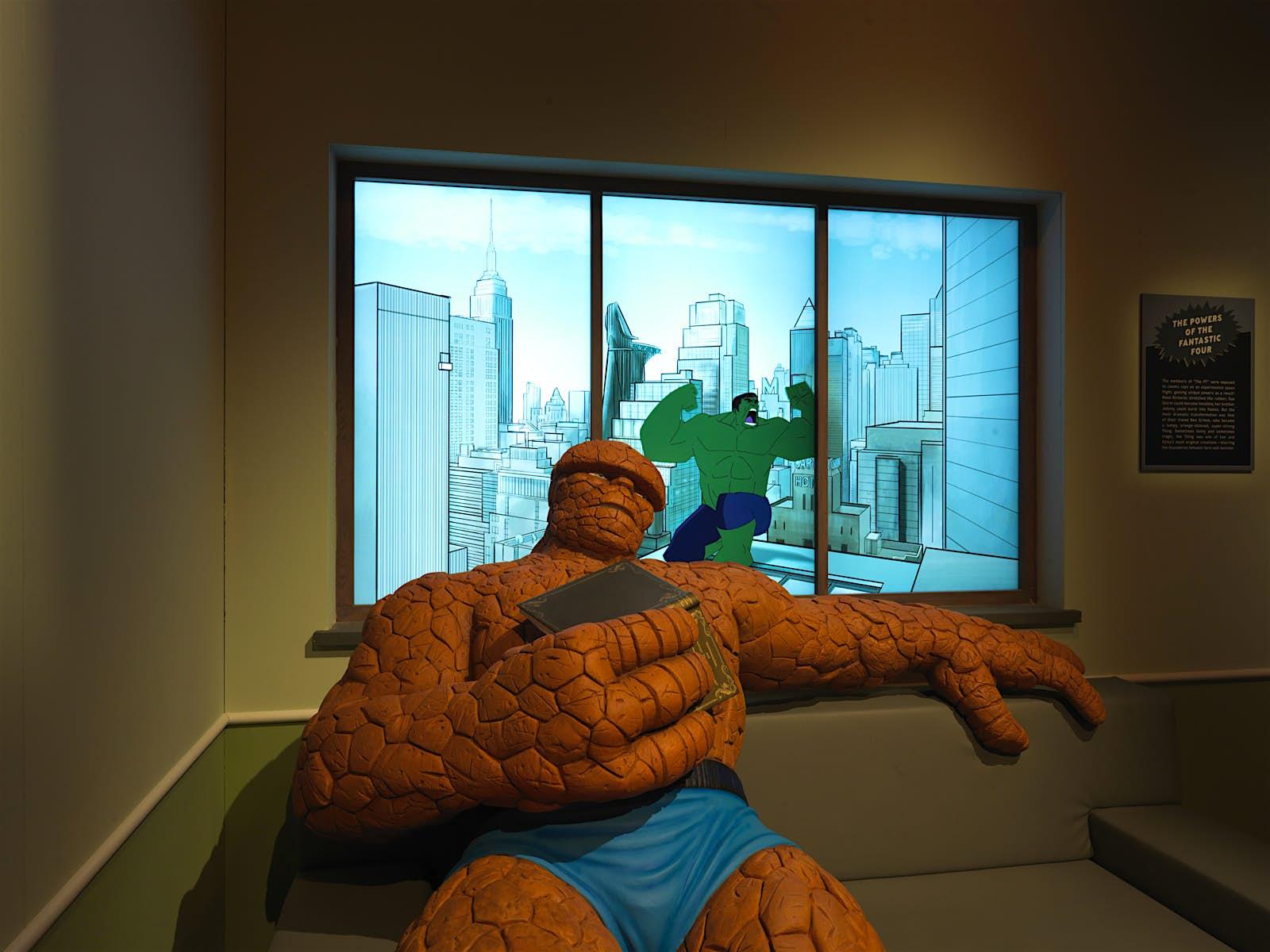 A sala do Incrível Hulk em uma exposição da Marvel