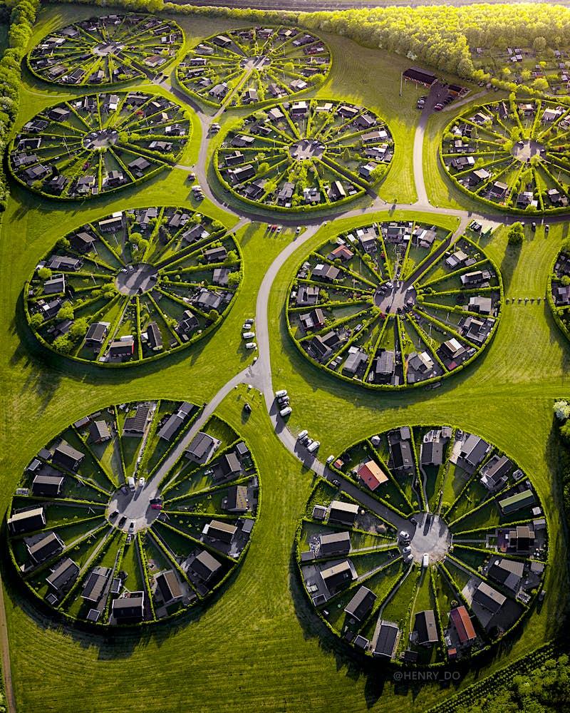 Denmark's otherworldly circular 'Garden City' as seen from above