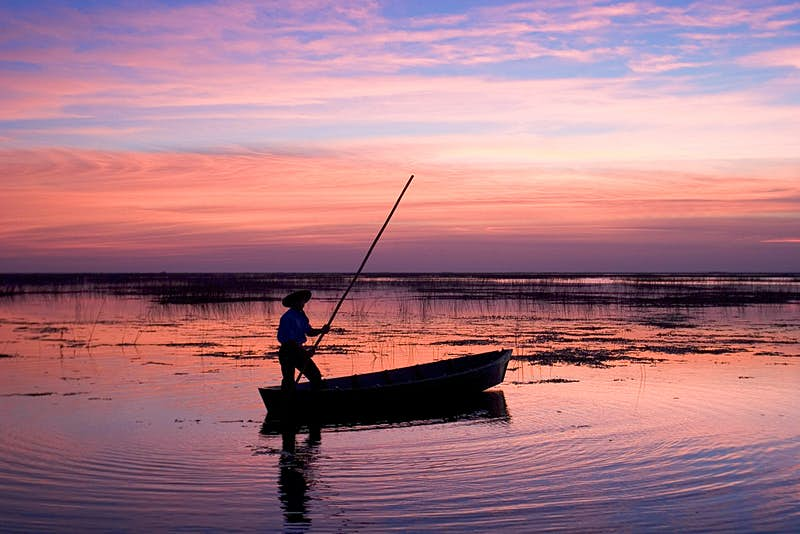A silhouette of a person wearing a hat, standing in a boat holding a long pole at sunset. The wetlands reflect pink and purple. Iberá Wetlands, Northeast Argentina.