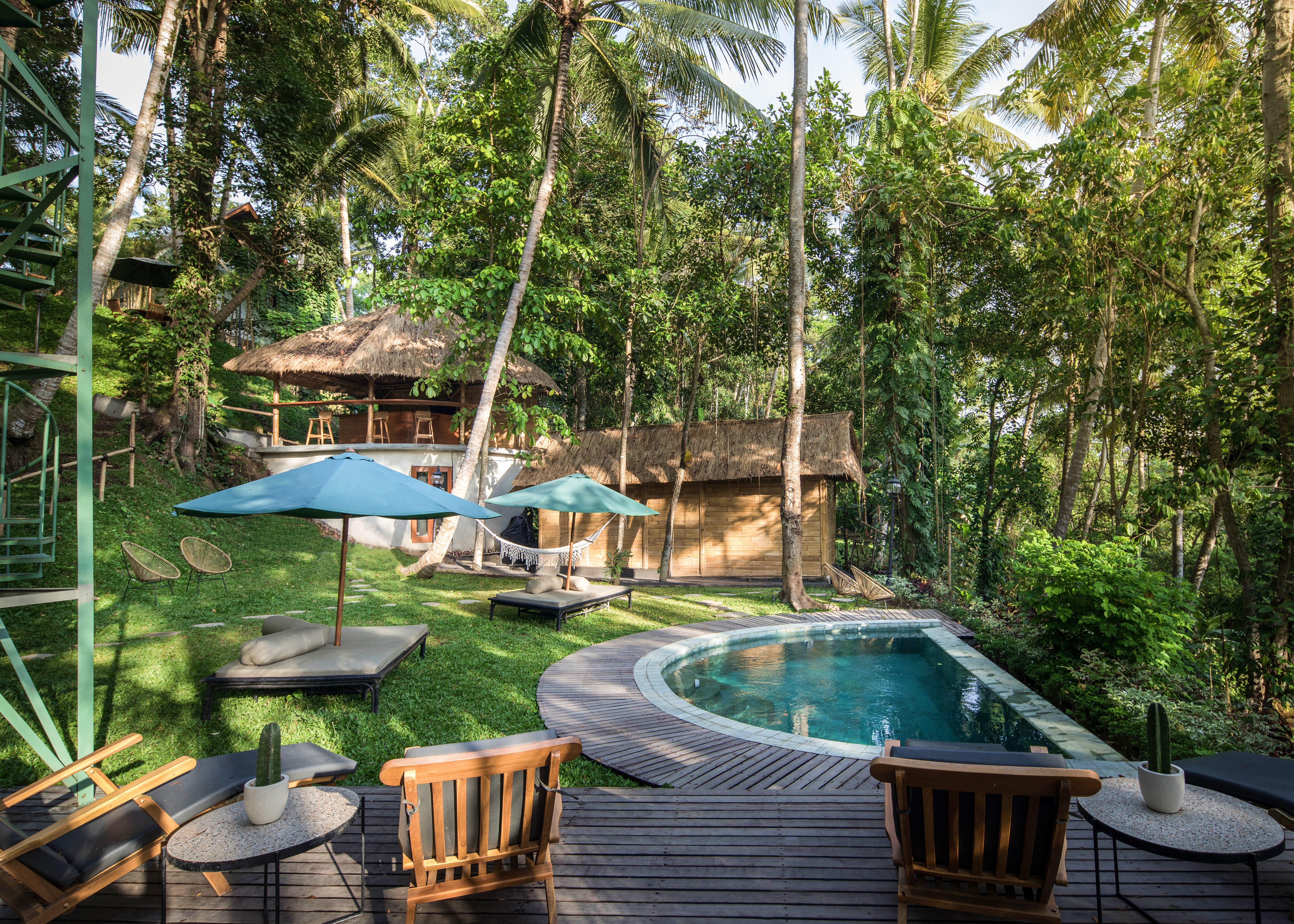 Small pool area and deck in a jungle eco resort