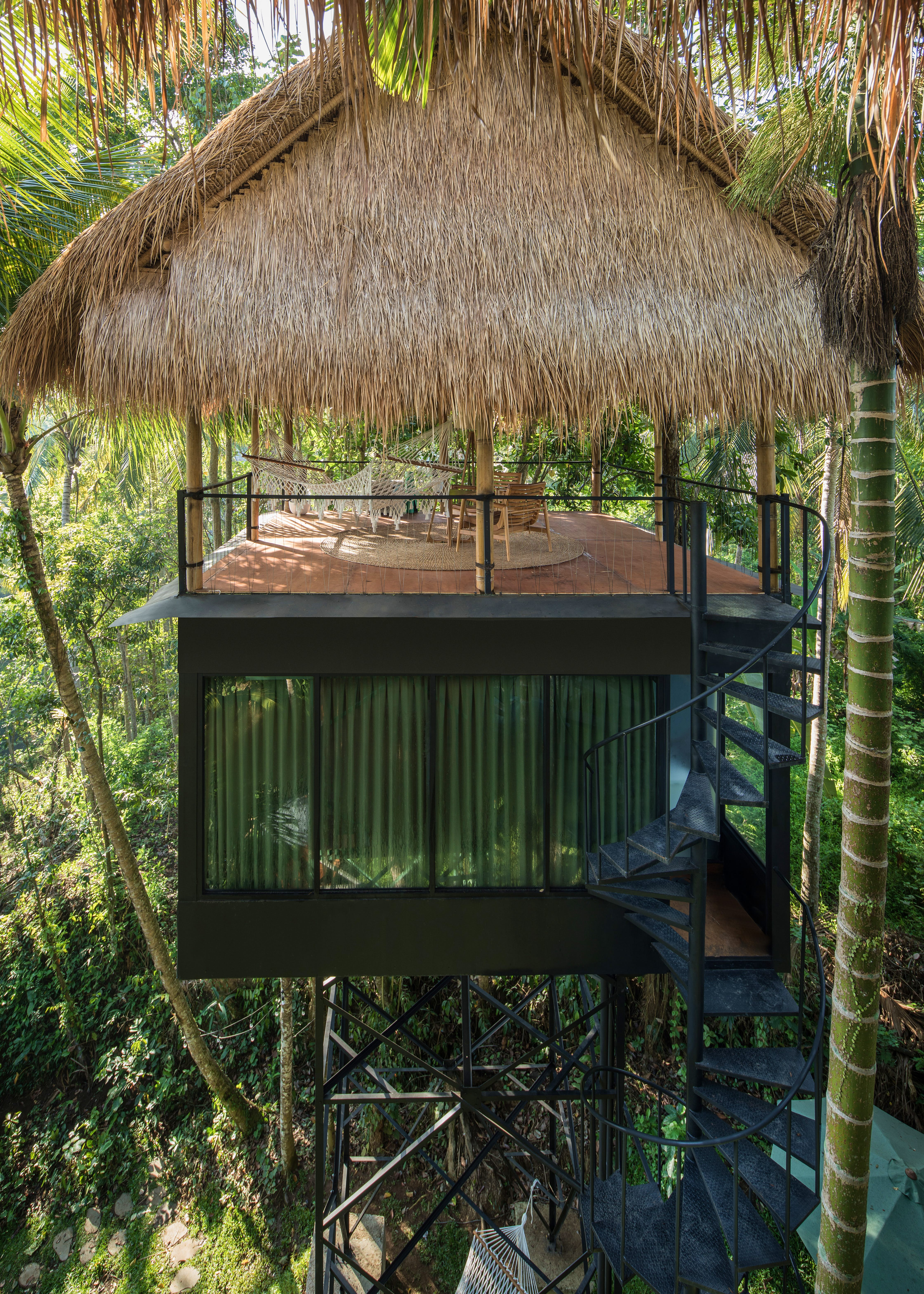 Bamboo decking of a treetop eco lodge in Bali