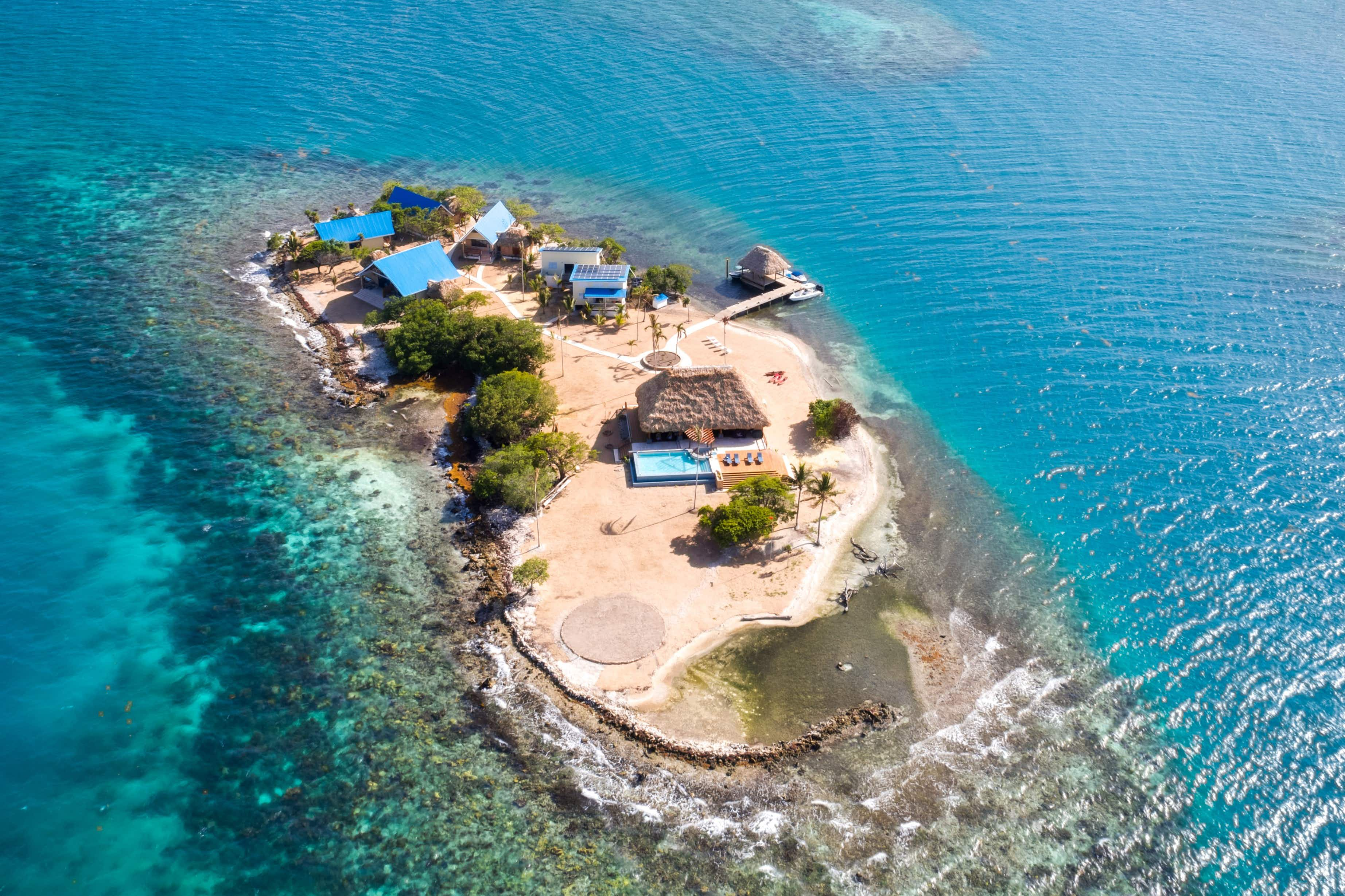 Kanu Island is a newly-opened hideaway located off the coast of Placencia in Belize. Image: Vrbo