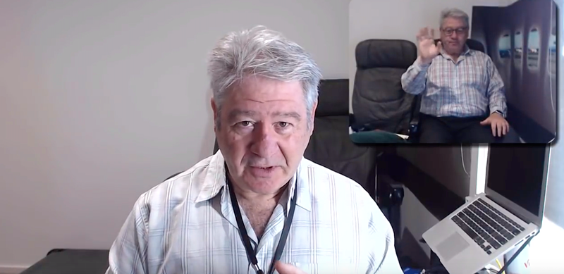 A screenshot of psychologist Les Posen in a YouTube video. In the top right there is an inset video which shows a passenger in an airplane cabin..