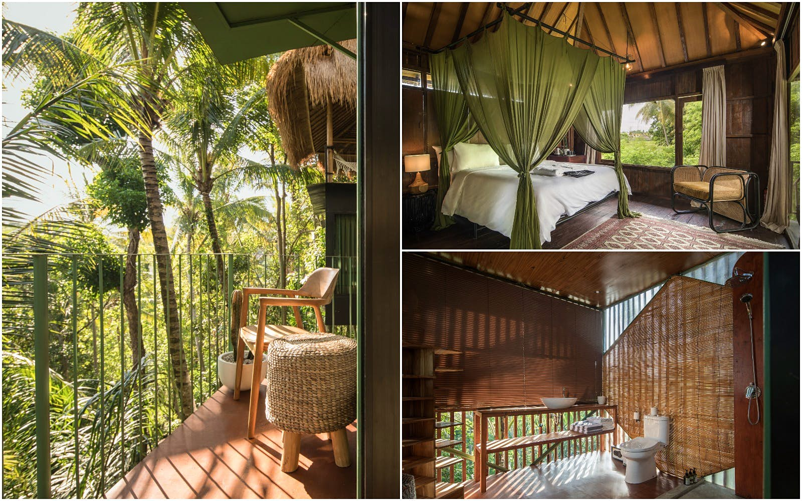 A collage of images from the interior of a treetop lodge in Bali