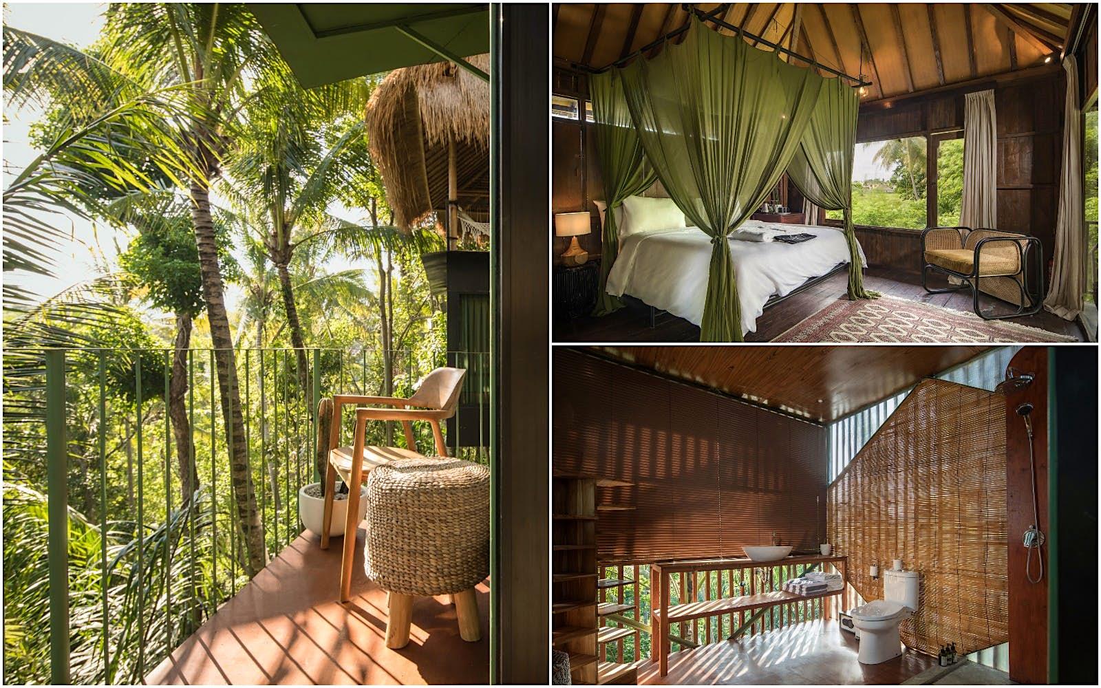 Uma colagem de imagens do interior de uma pousada na copa das árvores em Bali