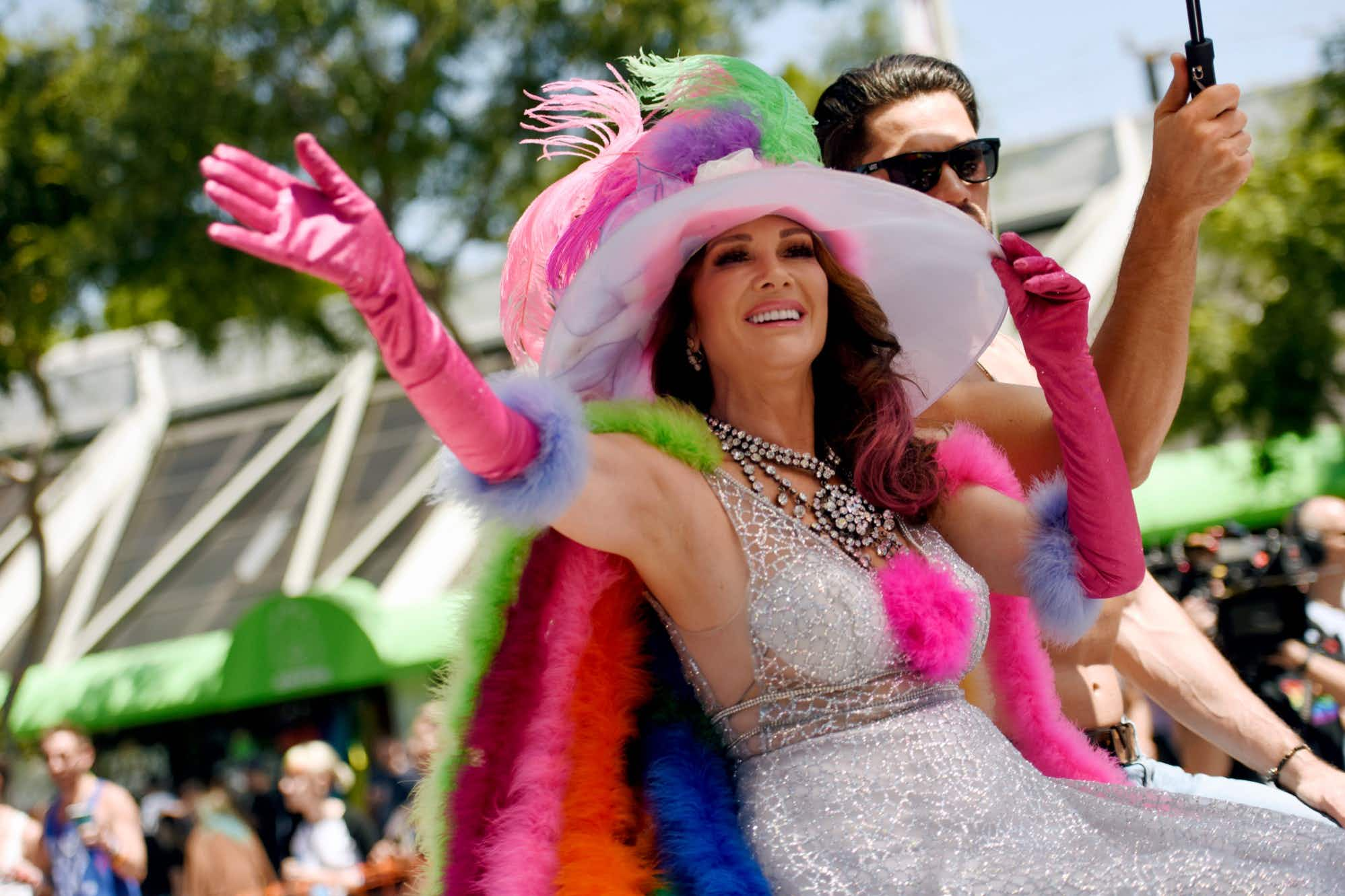 TV personality Lisa Vanderpump at the LA Pride Parade in West Hollywood, California. Image: Chelsea Guglielmino/Getty Images
