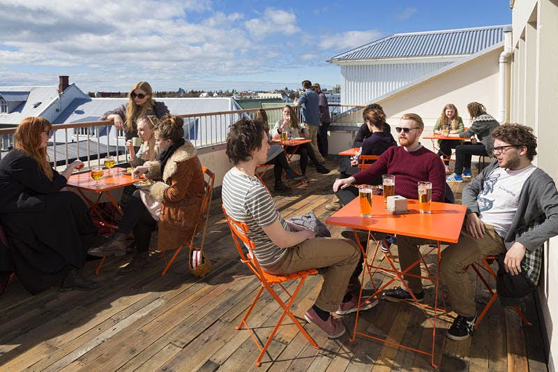 The rooftop at Iceland's Loft Hostel