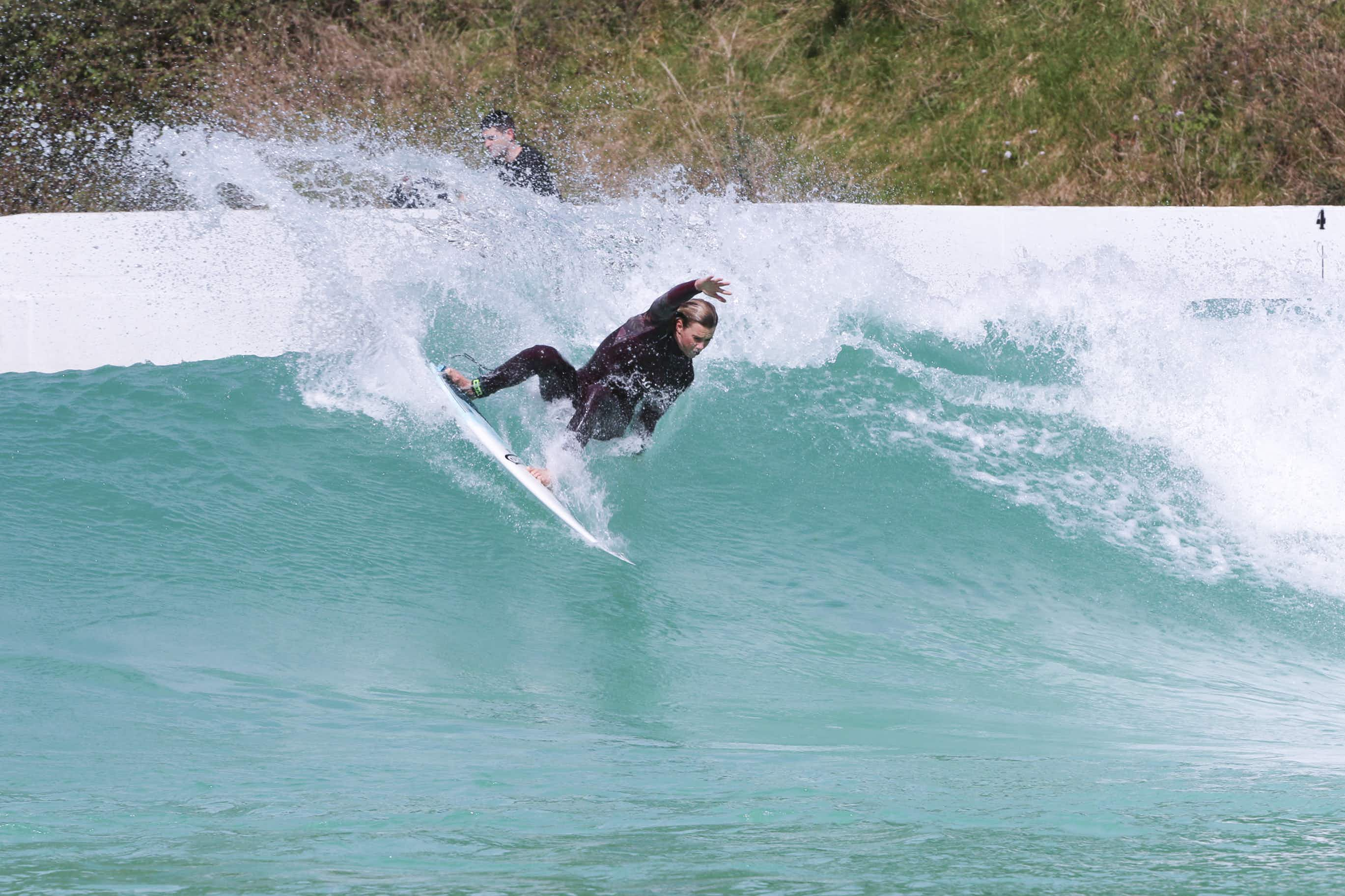 British surfer Lucy Campbell rides the waves at The Wave, a new inland surf park in Bristol ©The Wave
