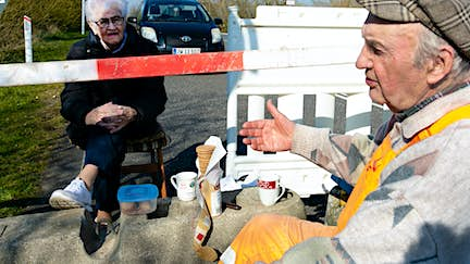 This elderly couple meet for daily coffee dates at the closed Danish-German border