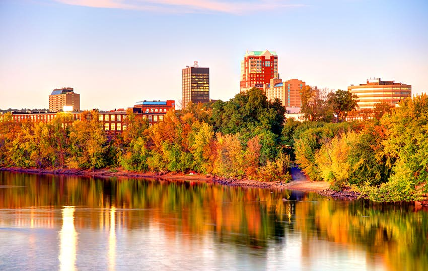 A look at Manchester New Hampshire, focused on fall trees