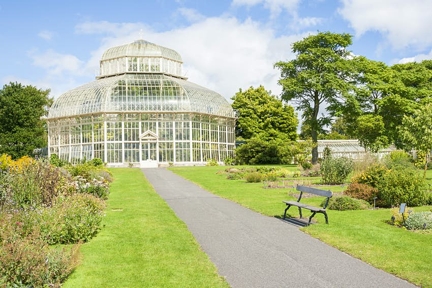 Large greenhouse in the middle of the National Botanic Gardens in Dublin