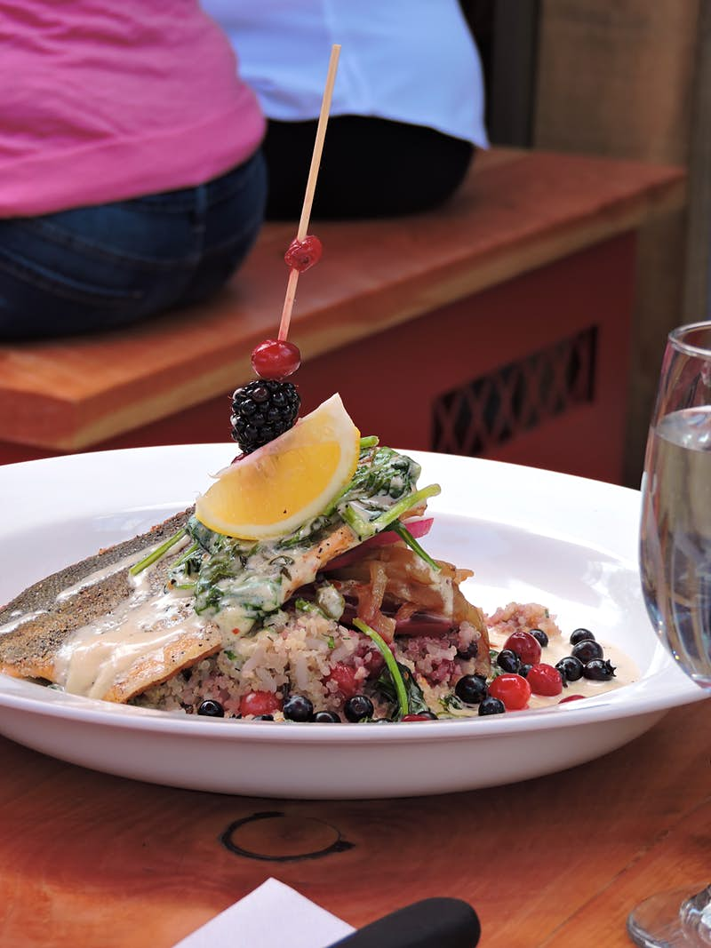 A piece of salmon, pierced by a wooden stick with a lemon slice and berries, lies in a bed of rice mixed with berries; Indigenous food