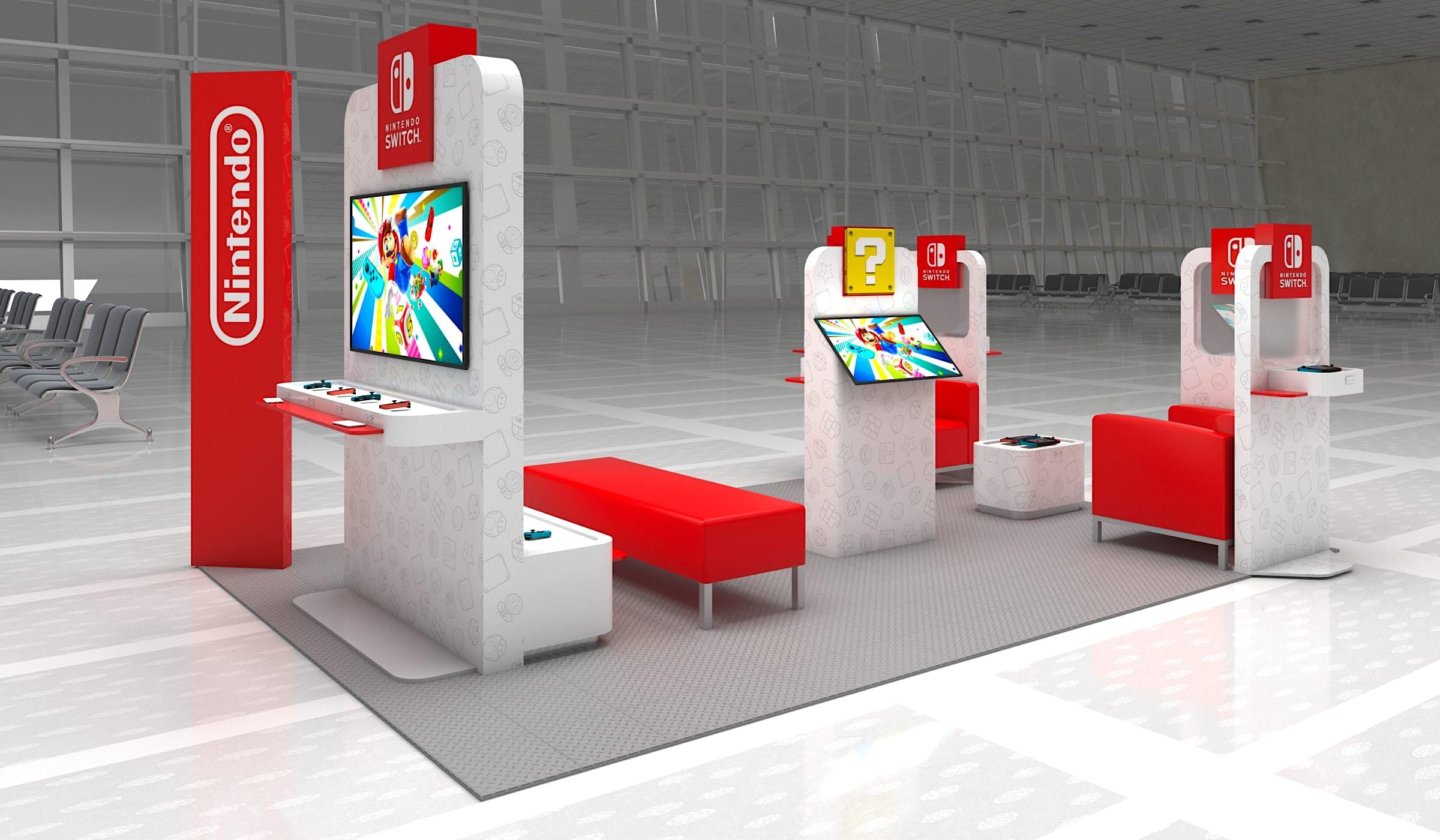 O pop-up da Nintendo no aeroporto Dulles, com cadeiras vermelhas e interruptores disponíveis para jogar