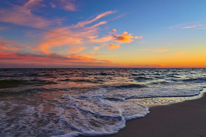 Pensacola Beach in Florida at sunset
