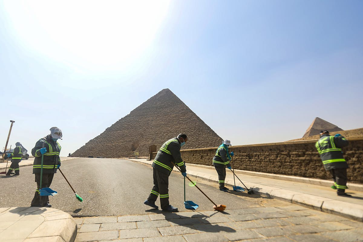 Egyptian pyramids get a deep clean as tourist sites sit empty during pandemic