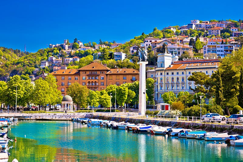 Historic Rijeka sits on a hill lined by a waterfront in the Kvarner Gulf.