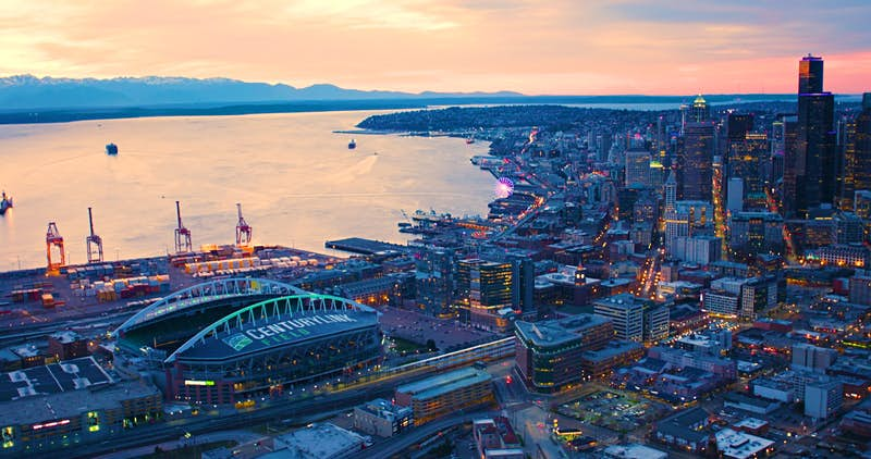 Aerial view of the city of Seattle at twilight; you can see many of the major attractions; nfl cities travel