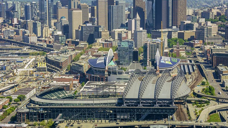 CenturyLink Field and T-Mobile Park are seen in the waterfront area of Seattle; Waterfront activities