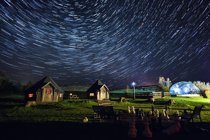 Jedi huts and the stargazing dome at Scotland's Skyewalker Hostel