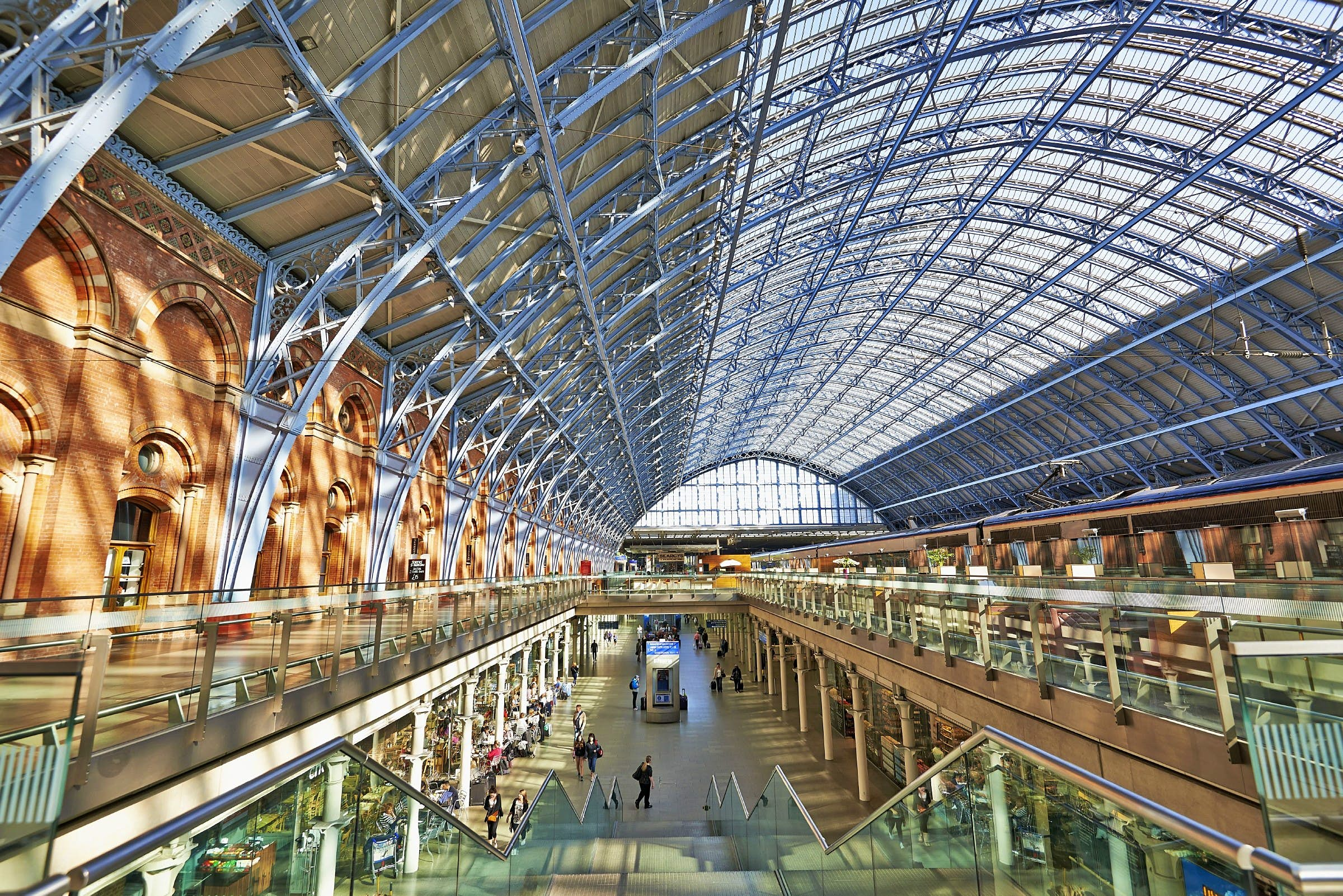 Inside St Pancras International train station in Kings Cross.