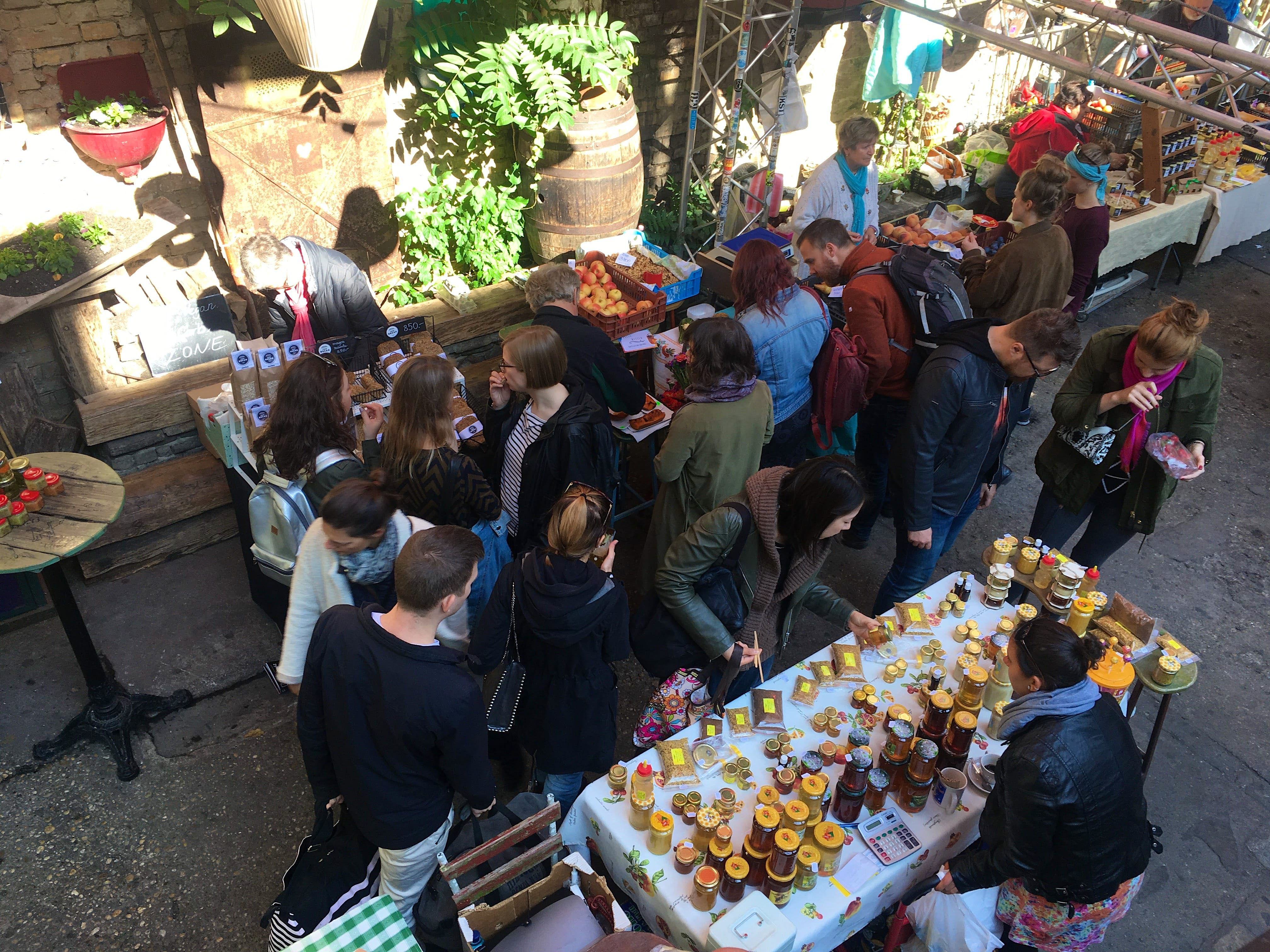The ruin pub Szimpla Kert turns into a farmers' market on Sundays in Budapest