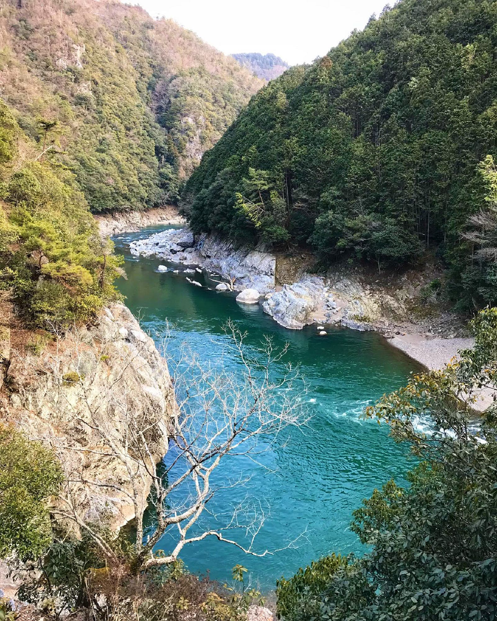 The dark greenish-blue waters of the Kiyotaki river bend around rocky banks flanked by thick forest.