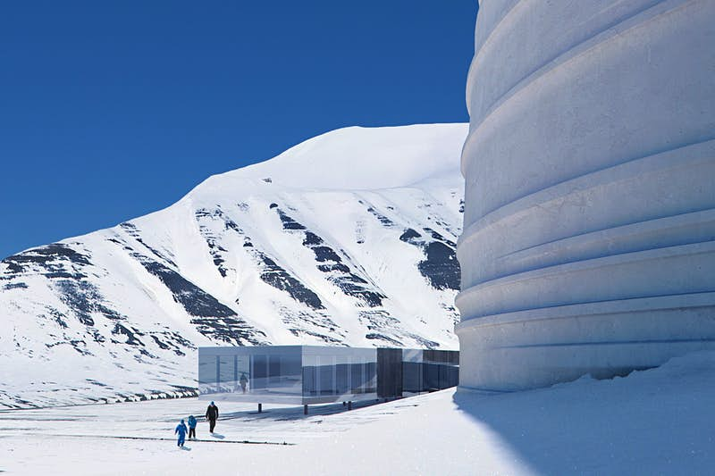 The exterior of The Arc in Svalbard in the snow
