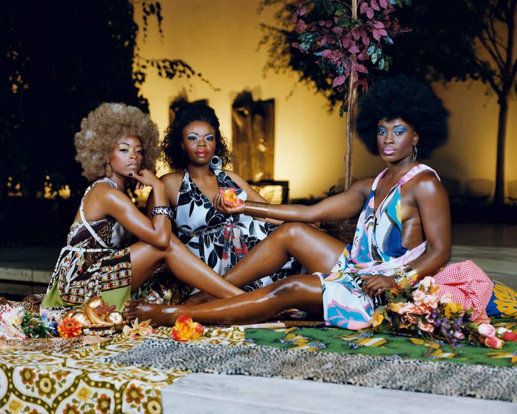 Le déjeuner sur l'herbe: Les Trois Femmes Noires. 2010. Image © Mickalene Thomas, courtesy the artist and Lehmann Maupin Gallery, New York