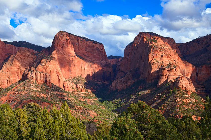 A red-rock mountain, with green trees below and blue skies above