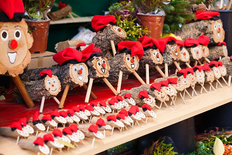 A display of wooden Tio de Nadal (Christmas logs), which is a character in Catalan mythology relating to Christmas tradition.