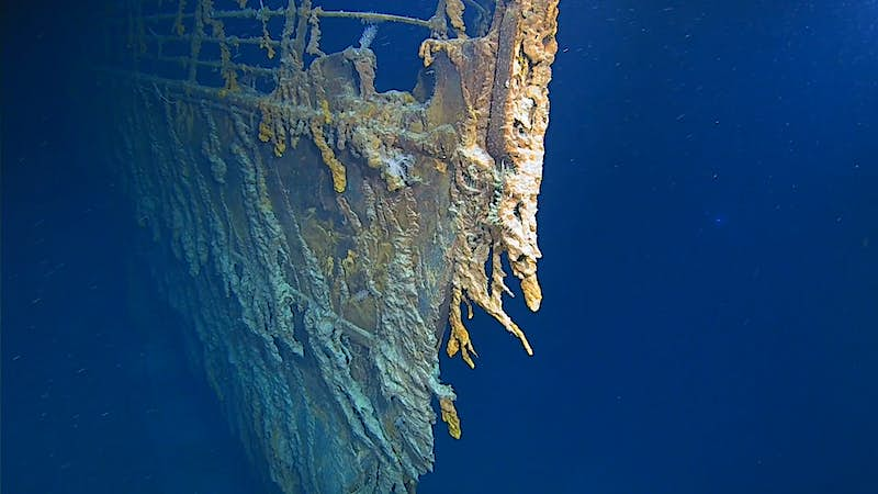The wreck of the Titanic underwater