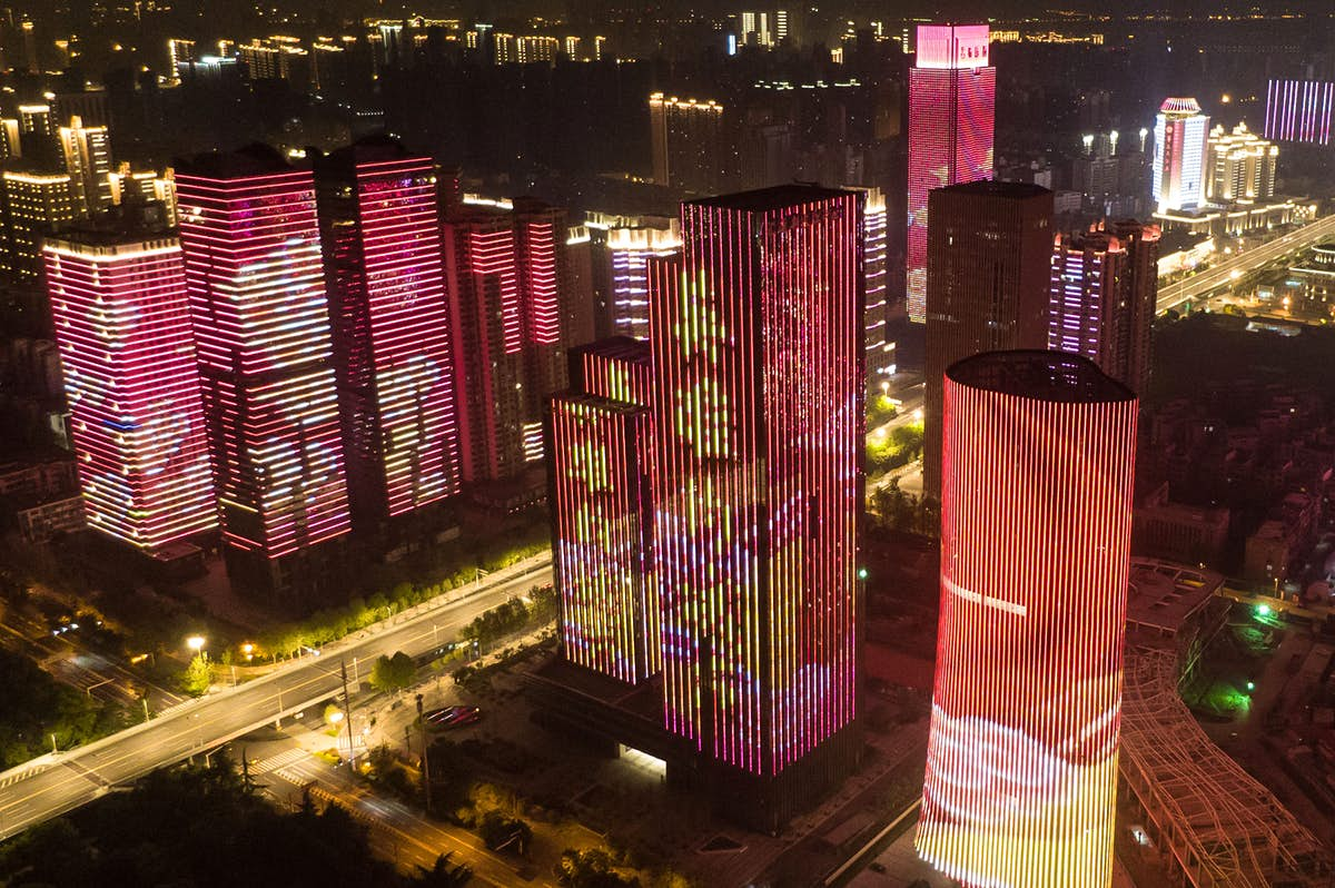 Wuhan celebrates the end of lockdown with a midnight light display