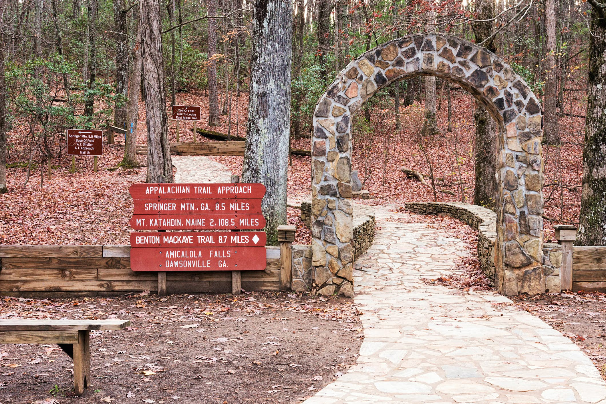 The famous stone arch at Amicalola Falls State Park marks the start of the Appalachian Trail approach segment that takes hikers to the southern terminus at Springer Mountain