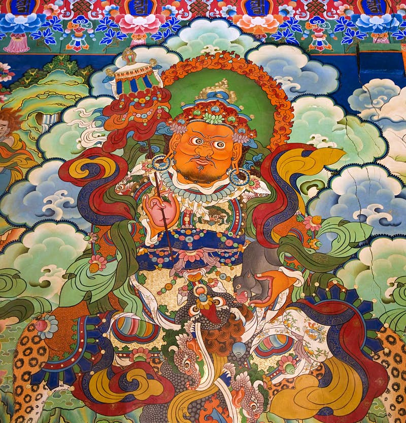 A colourful depiction of a Buddhist deity.