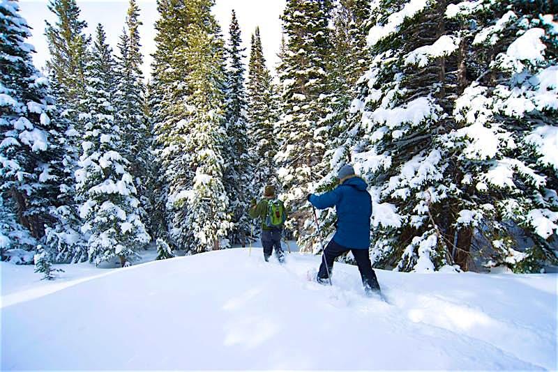 People snowshowing in Colorado