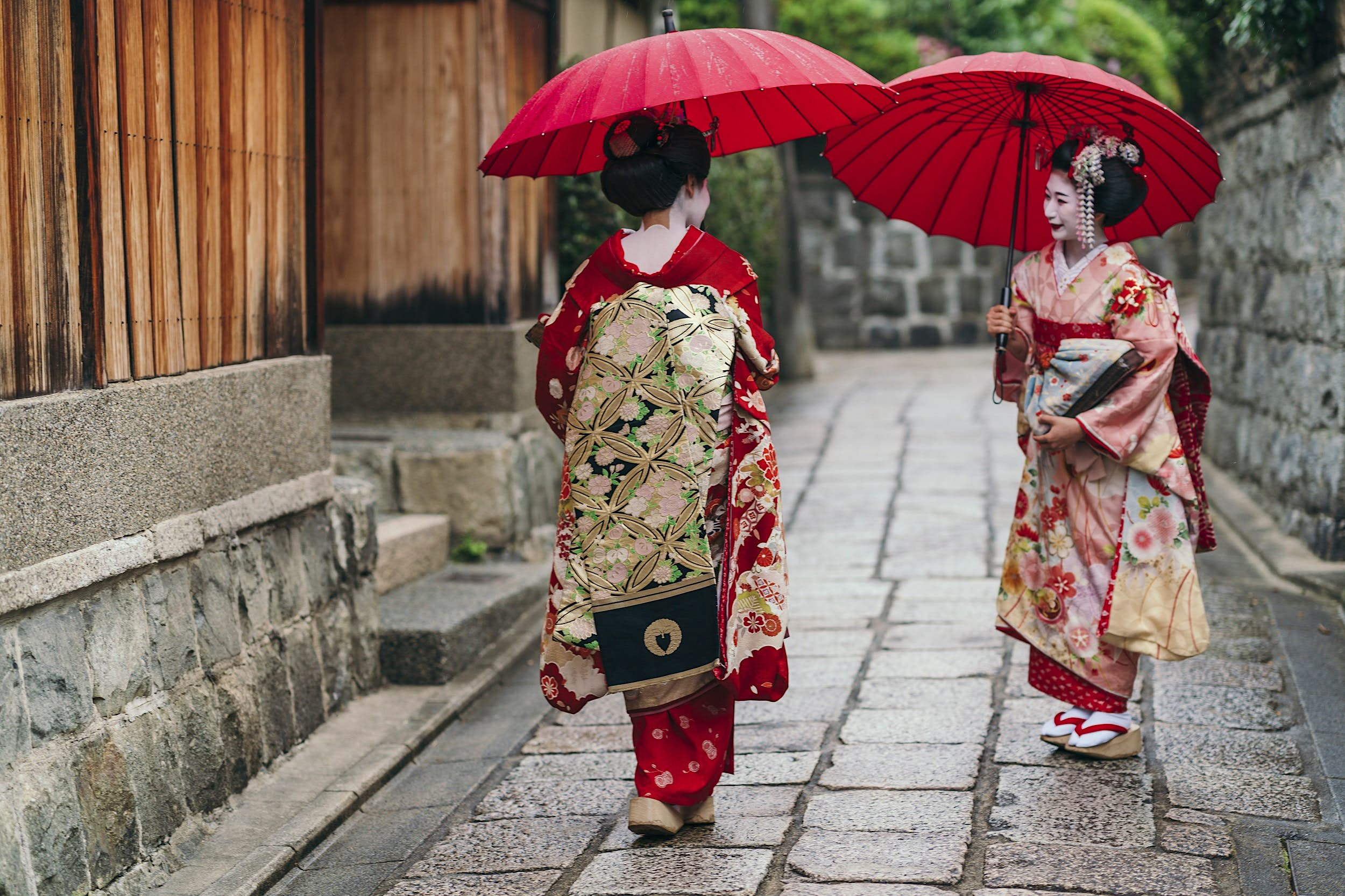 Maiko geishas with red umbrellas walking on a street of Gion in Kyoto, Japan.