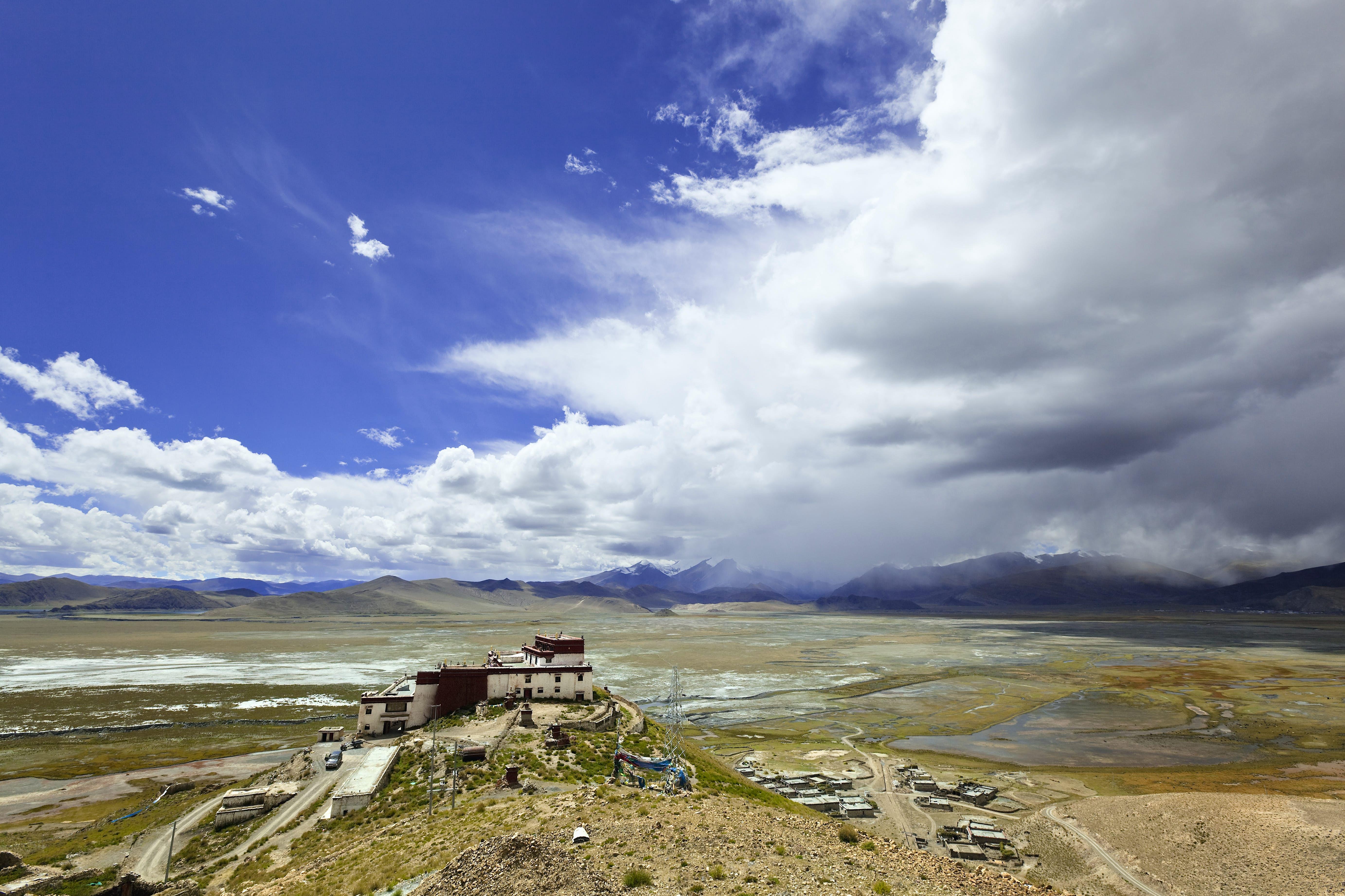 A monastery on a hill.