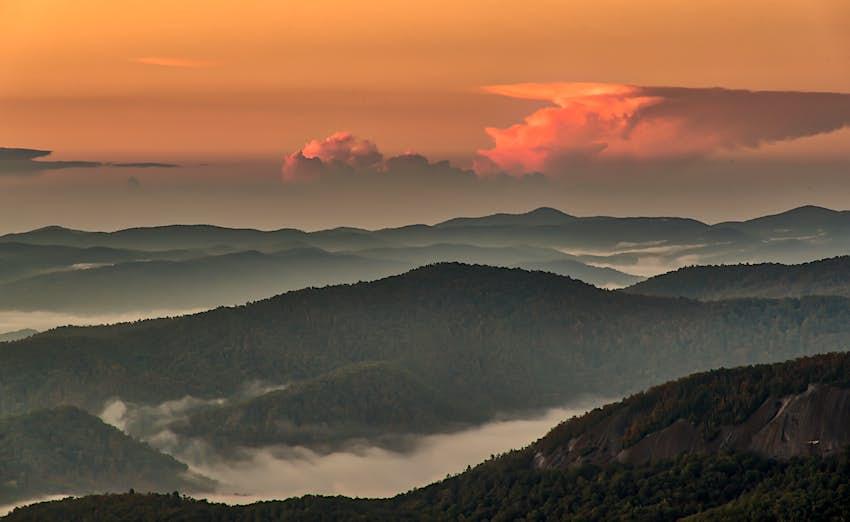 Sunrise over the Pisgah National Forest, North Carolina
