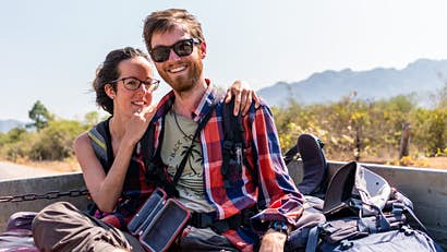 The couple travelling all over the world - without ever boarding a plane