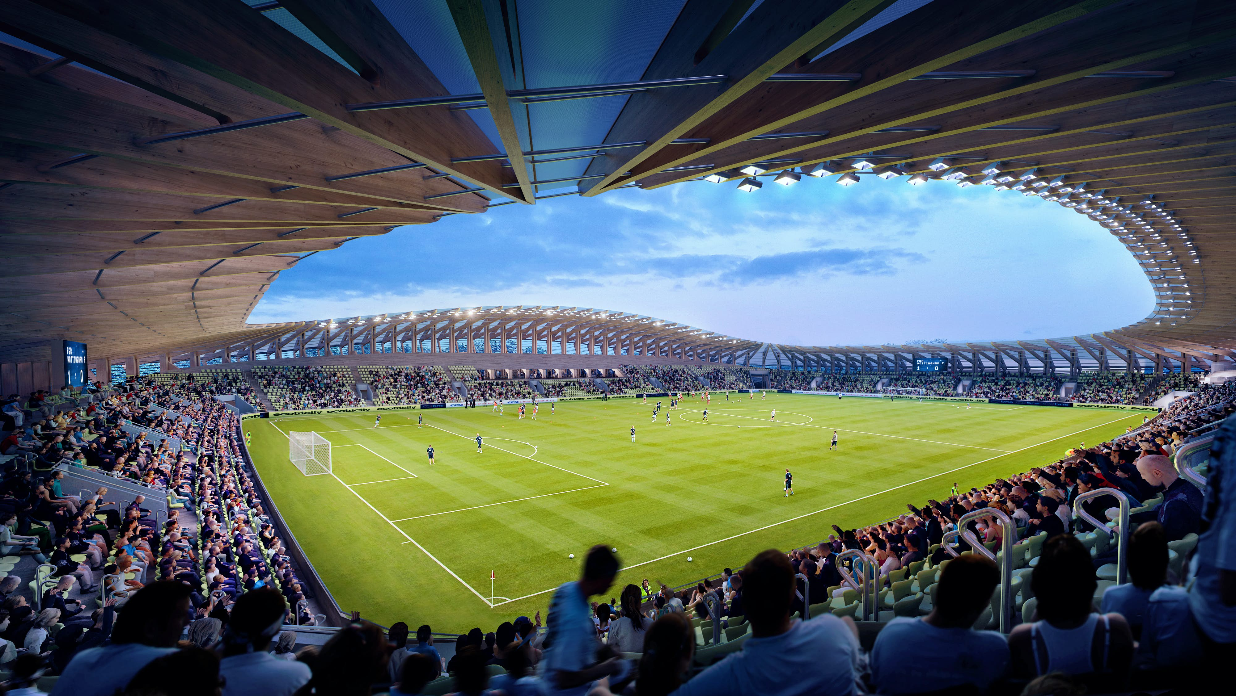 A rendering of the pitch of the stadium
